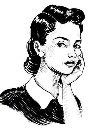 Pretty retro styled woman. Ink black and white drawing