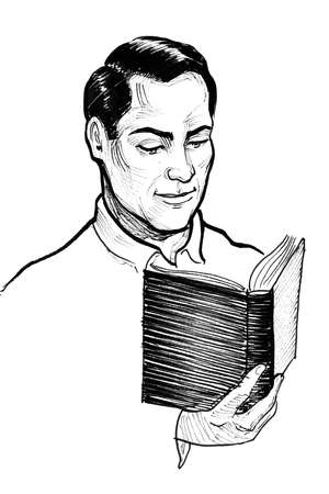 Man reading a book. Ink black and white drawing