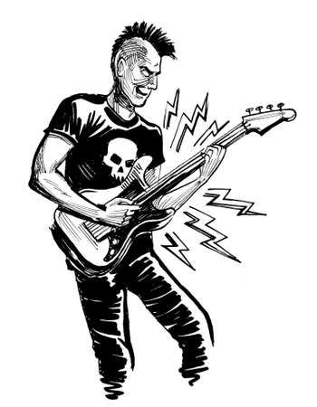 Punk musician playing electric guitar. Ink black and white drawing