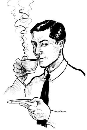 Gentleman drinking a cup of coffee. Ink black and white drawing
