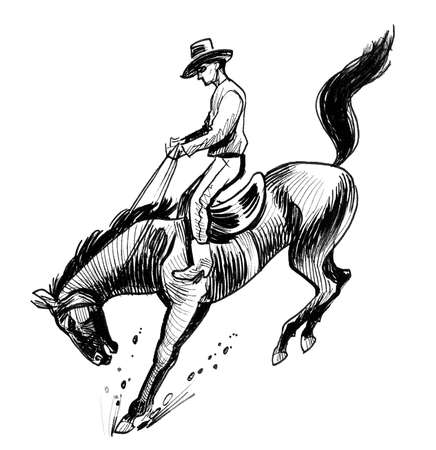 Rodeo cowboy riding a wild horse on rodeo competition. Ink black and white illustration