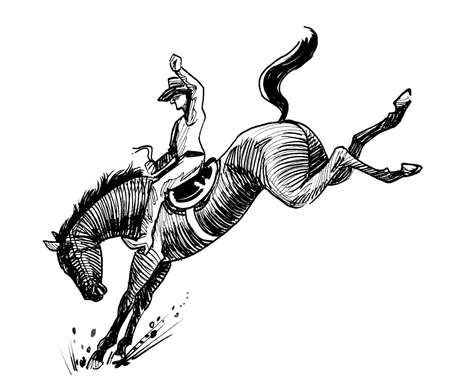 Cowboy riding a wild horse on rodeo competition. Ink black and white drawing