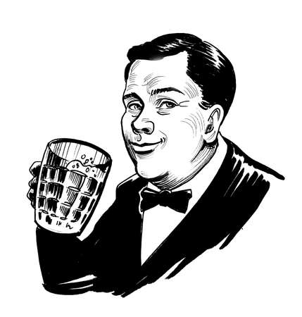 Happy gentleman drinking a mug of beer. Ink black and white drawing