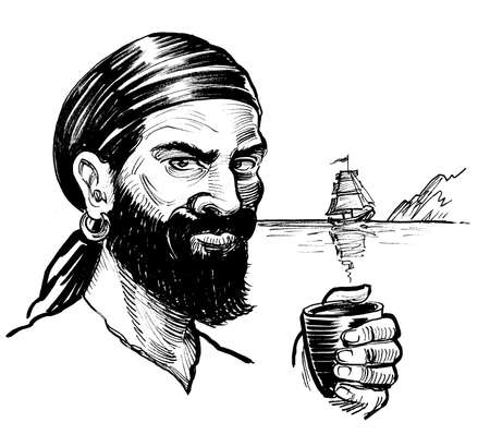 Pirate sailor with a cup of rum. Ink black and white drawing Stockfoto