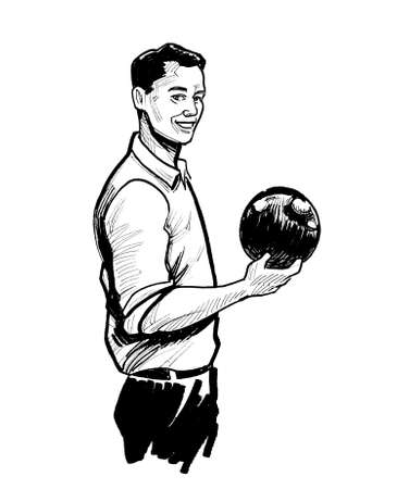 Happy smiling man with a bowling ball. Ink black and white drawing Stockfoto