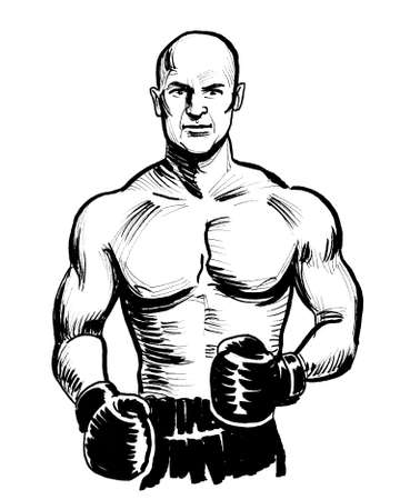 Muscular man in boxing gloves. Ink black and white drawing