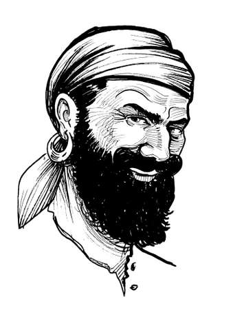 Pirate captain character. Ink black and white drawing