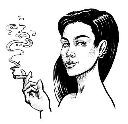 Pretty woman smoking marijuana joint. Ink black and white drawing