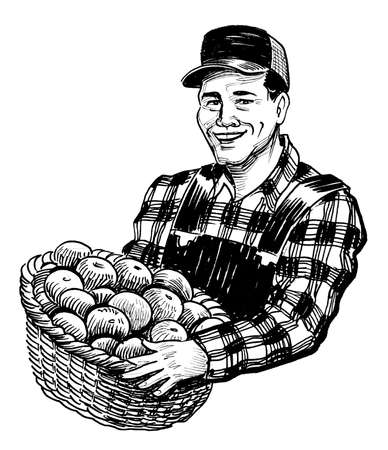 Happy farmer with a basket of apples. Ink black and white drawing Stockfoto