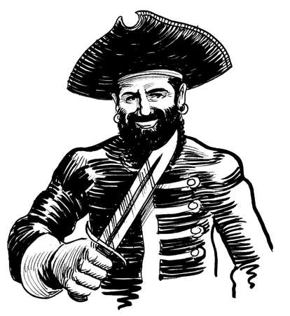 Pirate with a sword. Ink black and white drawing