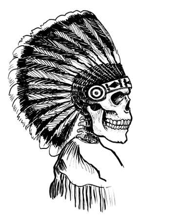Indian skeleton in traditional headwear. Ink black and white drawing Stockfoto