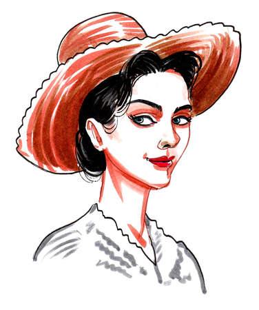 Pretty brunette lady in hat. Ink and watercolor drawing