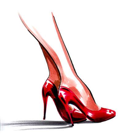 Women legs in high heel red shoes. Ink and watercolor drawing Banco de Imagens