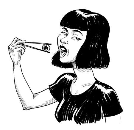 Pretty girl eating sushi with chopsticks. Ink black and white drawing Banco de Imagens