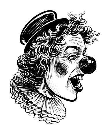 Laughing clown. Ink black and white drawing