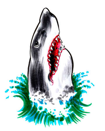 Angry shark in sea water. ink and watercolor drawing