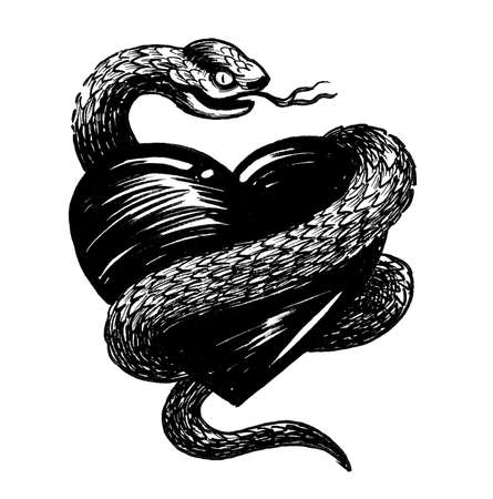 Human heart and angry snake. Ink black and white drawing
