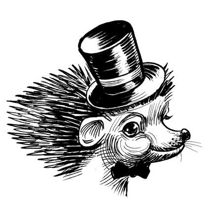 Cute hedgehog in tie and cylinder hat. Ink black and white drawing Banco de Imagens
