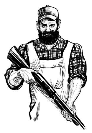 Big bearded farmer with a rifle. Ink black and white drawing