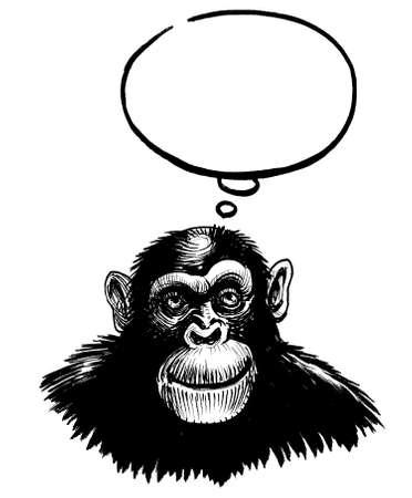 Thinking chimpanzee. Ink black and white drawing