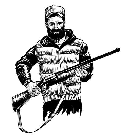 Hunter with a rifle. Ink black and white drawing Banco de Imagens