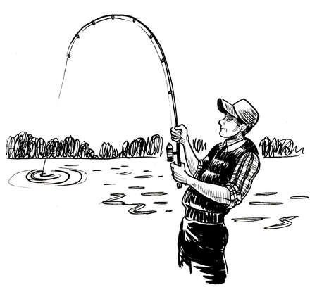 Man with a fishing rod at the river. Ink black and white drawing Banco de Imagens