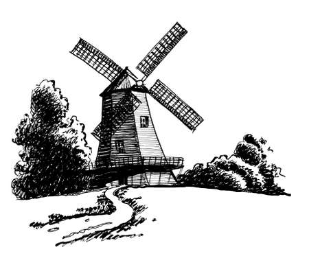 Old wind mill in the countryside. Ink black and white drawing Banco de Imagens