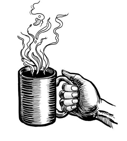 Hand holding a mug of hot coffee. Ink black and white drawing Banco de Imagens