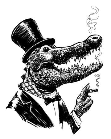 Rich alligator in suit and cylinder hat smoking a cigar. Ink black and white drawing Banco de Imagens