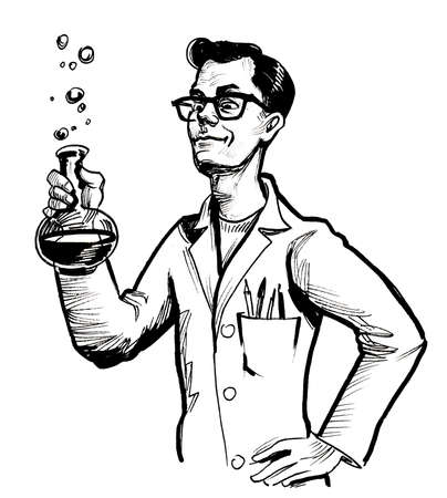 Mad scientist. Ink black and white drawing Banco de Imagens