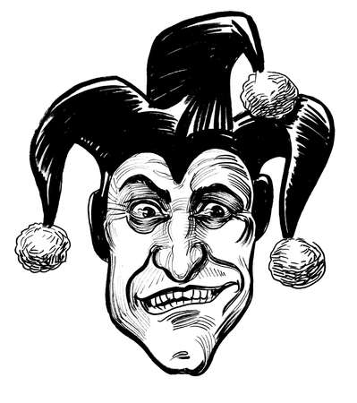 Mad looking jester. Ink black and white drawing