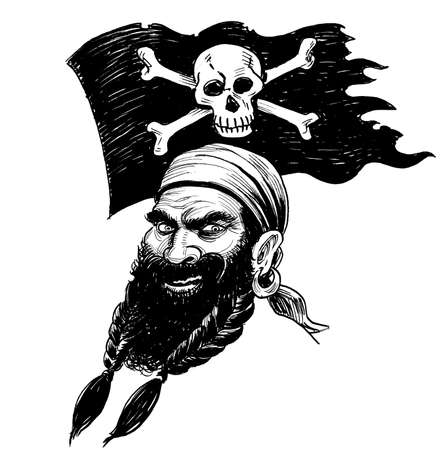 Bearded pirate and flag with skull and crossed bones. ink black and white drawing