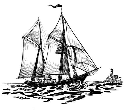 Sailing ship in the sea. Ink black and white drawing