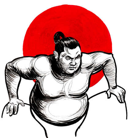 Sumo wrestler and red sun. ink and watercolor drawing Banco de Imagens