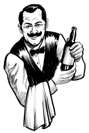 Polite waiter serving a bottle of wine. Ink black and white drawing