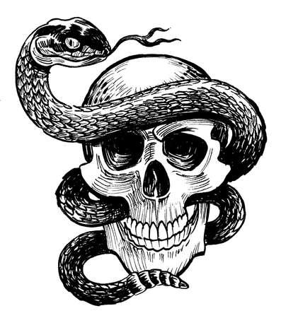 Human skeleton and rattlesnake. Ink black and white drawing