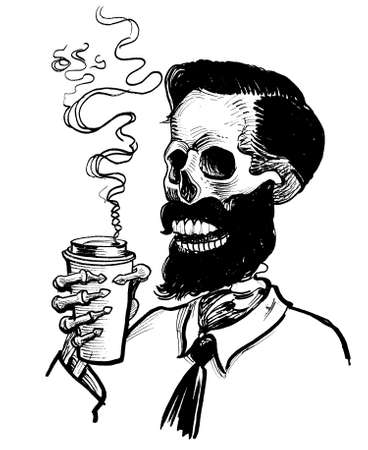 Cool human skeleton drinking a cup of coffee. Ink black and white drawing