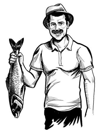 Happy fisherman with caught fish. Ink black and white drawing Banco de Imagens