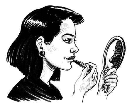 Pretty woman with mirror and lipstick. Ink black and white drawing