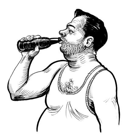 Alcoholic man drinking a beer of bottle. ink black and white drawing