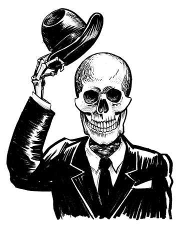 Human skeleton saying hello by raising his hat. Ink black and white drawing Banco de Imagens