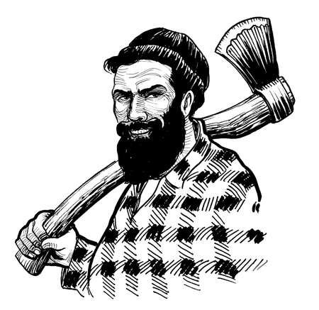 Canadian lumberjack with axe tool. Ink black and white drawing