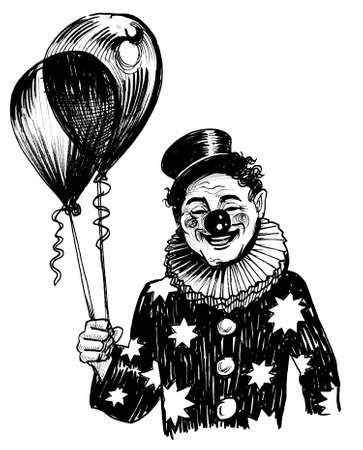 Happy clown with air balloon. Ink black and white drawing