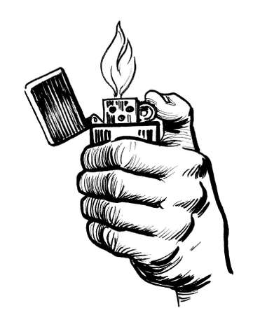 Hand with burning lighter. Ink black and white drawing