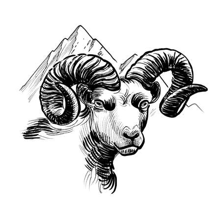 Mountain ram and mountain peaks. Ink black and white drawing