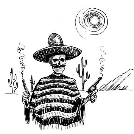 Dead Mexican bandit in a desert with a smoking gun. Ink black and white drawing Banco de Imagens