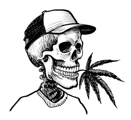 Human skeleton with a cannabis leaf. Ink black and white drawing