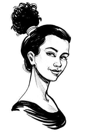 Beautiful brunette woman. Ink black and white drawing Banco de Imagens