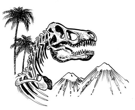 Tyrannosaurus skeleton and mountain. Ink black and white drawing