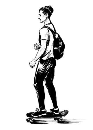 Young man riding a skateboard. Ink black and white drawing